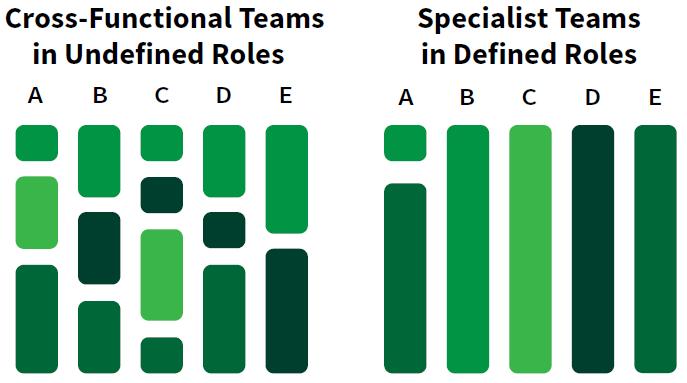 Undefined roles versus Specialist teams